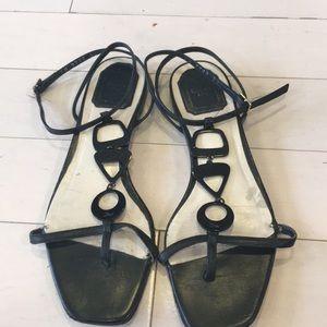 Stylish Christian Dior Black Leather Sandle Sz 38